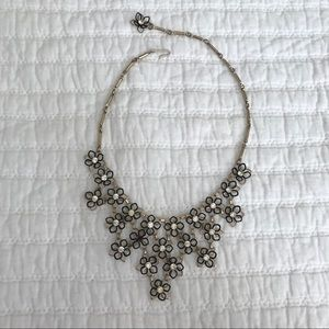 Vtg Necklace 3D Wire Flowers with Rhinestones